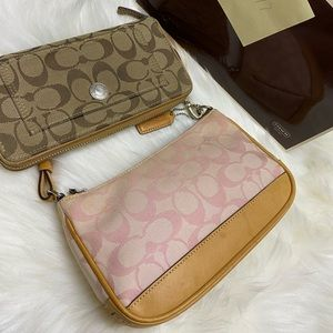 Y2K coach pink signature clutch with wallet